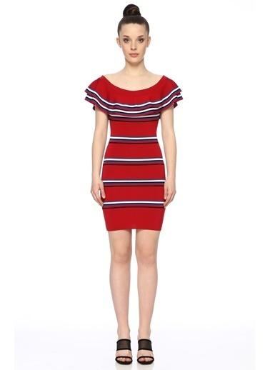 NetWork Kadın 1073471 Slim Fit Çizgili Mini Triko Elbise Kırmızı